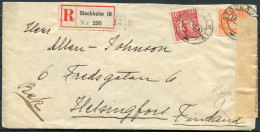 1917 Sweden Stockholm Registered Censor Zensur Cover - Helsingfors Finland - Sweden