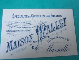 Cartes De Visite écrite Costume Pour Pensionnat Layette Maison Mallet Marseille Spécialiste De Costume Pour Enfants - Cartes De Visite