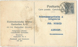 """Motiv Karte  """"Elektrochemische Werke Gurtnellen""""             1918 - Cartas"""