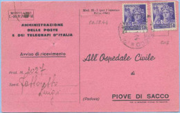 1944 R.S.I.MONUMENTI DISTRUTTI C.50 (SASS. 507) COPPIA AVVISO RICEVIM. 10.12.44 BREVE PERIODO TARIFFARIO OTTIMA QUALITÀ - 4. 1944-45 Repubblica Sociale