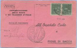 1944 R.S.I.MONUMENTI DISTRUTTI C.25 (SASS. 497) COPPIA AVVISO RICEVIM. 7.8.44 BREVE PERIODO TARIFFARIO OTTIMA QUALITÀ (N - 4. 1944-45 Repubblica Sociale