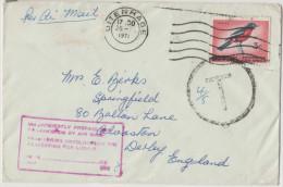 SUD AFRICA - SOUTH AFRICA - SUID AFRIKA - 1971 - Cover Air Mail - Insufficiently Prepaid - Viaggiata Da Uitenhage Per... - Covers & Documents