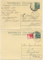 CARTOLINA POSTALE DEMOCRATICA L. 12: USATE CON E SENZA AFFRANCATURA AGGIUNTA (6215) - 6. 1946-.. Repubblica