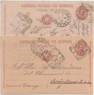 CARTOLINA POSTALE CON RISPOSTA UMBERTO C.7,5: USATE TIRATURE, CARTONCINI E STAMPA DIFFERENTI MA STESSO ANNO 1900 (6216) - 1878-00 Umberto I