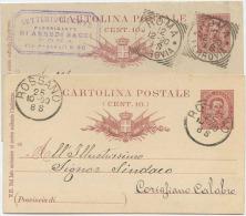 1890 CARTOLINA POSTALE C. 10: USATE TIRATURE, CARTONCINI E STAMPA DIFFERENTI MA STESSO ANNO 1891 OTTIMA QUALITÀ (6219) - Interi Postali