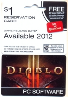 Target Reservation Card For Diablo Game  U.S.A.,  Card For Colletion Without Value # G-292 - Gift Cards