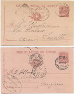 1903 CARTOLINA POSTALE CON RISPOSTA C.7,5: USATE TIRATURE, CARTONCINI E STAMPA DIFFERENTI MA STESSO ANNO 1903 OTTIMA QUA - 1900-44 Vittorio Emanuele III