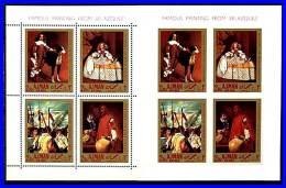 AJMAN 1968 VELAZQUEZ PAINTINGS X2 S/S MNH DOGS, COSTUMES - Ajman