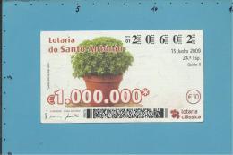 LOTARIA DE SANTO ANTÓNIO - 24.ª ESP. - 15.06.2009 -  MANJERICO - Portugal - 2 Scans E Description - Lottery Tickets