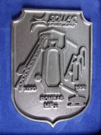 Plaque Ecusson : Logo SOLLAC Groupe USINOR 1890 - 1998 ROMBAS HFx : Hauts Fourneaux  : SIDERURGIE LORRAINE - Advertising (Porcelain) Signs