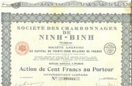 LBR35B - ACTION DE LA STE. DES CHARBONNAGES DE NINH - BINH (TONKIN)  30 COUPONS ATTACHES - Asien