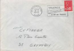 """Lettre AVIATION 26 Valence Gare 3-3 1973 Flamme O= """" Valence ...à 90' De Paris """" - Flugzeuge"""