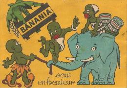 BANANIA - CARTON PUBLICITAIRE ANCIEN FORMAT 9 X 13 CM. - SAUT EN HAUTEUR -  2 SCANS - Advertising
