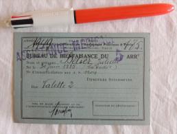 Carte Du Bureau De Bienfaisance Du 5ème Arrondissement De Paris  –  1949 - Documentos Históricos