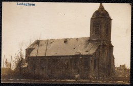 """ZELDZAME FOTOKAART 1914 - 1918 """" LEDEGEM - Beschadigde Kerk """" - Tirage Argentique !! - Ledegem"""