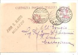 61130) Intero Postale Da 25c. Michetti Viola Da Milazzo A Caltagirone  Il 28/12/1922  Mill.21 - 1900-44 Vittorio Emanuele III