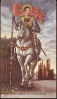 S. Antonino Martire patrono di Piacenza, Santino  bordo dorato  angoli arrotondati
