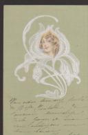 CPA:Art Nouveau:Tête De Femme Dans Une Rose. - Avant 1900
