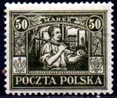 POLAND 1922 Silesian Miner - 50m. - Olive  MH - 1919-1939 Republic