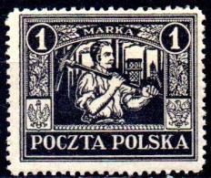 POLAND 1922 Silesian Miner -  1m. - Black  MH - 1919-1939 Republic