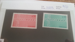 LOT 220339 TIMBRE DE ANDORRE FRANCAIS NEUF* N�212/213 VALEUR 50 EUROS