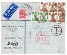 O.A.T. Taxierter Luftpostbrief  17.1.46 Bombay Indien Nach Basel Mit AK-St. - Poste Aérienne
