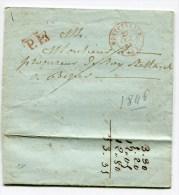 HERAULT De MONTPELLIER LAC Du 27/10/1846 Avec Cachet T15 Rouge + PP Rouge Pour Beziers - Marcophilie (Lettres)