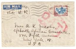O.A.T. Zensur Luftpostbrief  8.8.45 Durban Nach New-York USA - Südafrika (...-1961)