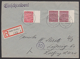 SBZ 15 Pf(2) Provinz Sachsen R-Brief Halle(Saale) Randst�cke gepr�ft Str�h BPP (MiNr. 80yb  gestempelt je 120,-)