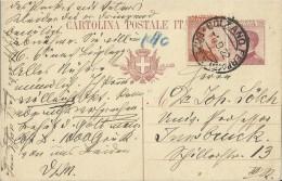 ITALY 1922 -  CARTOLINA POSTALE PRESTAMPATA 25 CENT + FRANC.  25 ?? C INVIATA DA BOLZANO-BOZEN  A INNSBRUCK/AUSTRIA OBL - 1900-44 Vittorio Emanuele III