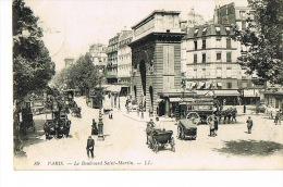 PARIS  Transports Urbains Cpa LL 89 Voiture Attelage Ligne Porte Saint Martin Grenelle 10° Arrdt Voyagée - Transport Urbain En Surface