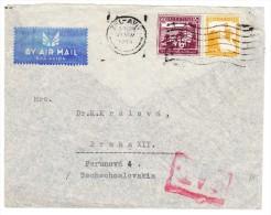 O.A.T. Luftpostbrief 19.11.45 Tel Aviv Palestina Nach Tschechoslovakei - Brief Mit Mängel Teils Hinten Fehlt - Palestine