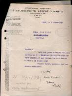 Courrier Commercial Larché Dumartin Ychoux Landes 2-01-1947 + La Réponse - Chèque Sur BNCI Labouheyre - Francia