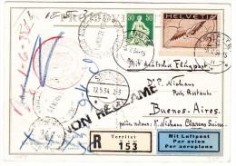 """Pro Ju. R-Karte 3.5.34 Territet Nach Buenos Aires (Flug Stuttgart-Süd Amerika 12.5.34) """"non Réclamé"""" Retour - Poste Aérienne"""