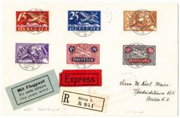 Express R-Luftpostbrief Zürich 3 - 16.VIII.23 Schweizer Flugpost (Vollstempel) Nach Berlin - Poste Aérienne