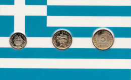 GRIECHENLAND, 1 + 2 + 5 DR Vergoldet; Diese Münzen Sind Garantiert Echt Und Zusätzlich Vergoldet, Hochglanz (PP) >>> - Bahrein