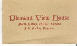 Booklet  Pleasant View House, North Hatley, Quebec F. R. MacKay, Proprietor - Noord-Amerika