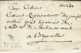 BELGIUM USED COVER 05/10/1794 LATHUY VERS BRUXELLES ARMEE DU NORET & SAMBRE-&-MEUSE GRIFFE NIVELLES CHATEAU DE L