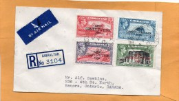 Gibraltar 1950 Cover Mailed Registered To Canada - Gibraltar