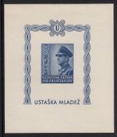 Croatia MH Scott #B31 Imperf Souvenir Sheet 12k + 8k Ante Pavelich - Croatie
