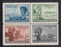 Croatia MH Scott #B37a-#B37d Block Of 4 Ex-souvenir Sheet Sailor, Pilot, Infantry, Tank - Croatie