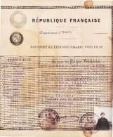 Passeport République Française Valabe Pour Un An Du Département De L´HERAULT Pour L´ITALIE DE 1922 - Vieux Papiers