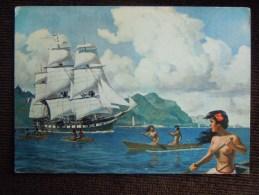 """Collection Etienne Blandin  , La Fregate """" L' Uranie """" Quittant Hawai,  Saint-Malo , Corsaires - Illustrateurs & Photographes"""