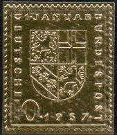 Edition Raritäten In Gold BRD # 249 ** 50€ Mit 23 Karat Feingold Saarland Eingliederung Deutschland Wap Stamp Of Germany - BRD