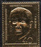 Edition Raritäten In Gold BRD #344 ** 50€ Mit 23 Karat Feingold Aufbau Von Deutschland Porträt Marshall Stamp Of Germany - BRD