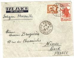 INDOCHINE-LETTRE PAR AVION - Storia Postale