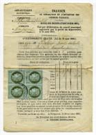 YT N#50 Bloc de 4 sur lettre de VILLEFRANCHE DE LONGCHAPT / Dept 23 Dordogne / 20 Oct 1873 / C�te 450�