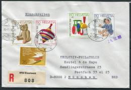 1988 Switzerland Braunwald Registered Pro Juventute 1986 Set On Cover - Munich - Pro Juventute