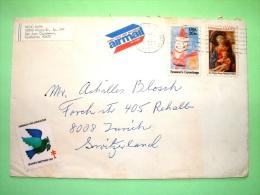 USA 1984 Cover To Switzerland - Christmas - Lippi Painting - Children Drawing - Tuberculosis Label - Etats-Unis