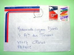 USA 1986 Cover To France - Texas - San Jacinto - Flag - Love - Etats-Unis
